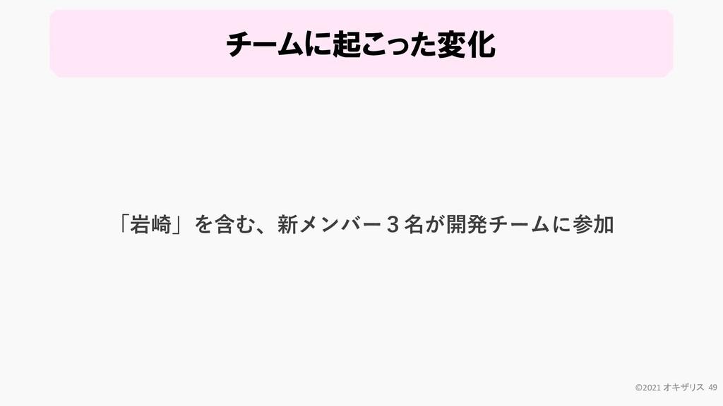 チームに起こった変化 ©2021 オキザリス 49 「岩崎」を含む、新メンバー3名が開発チーム...