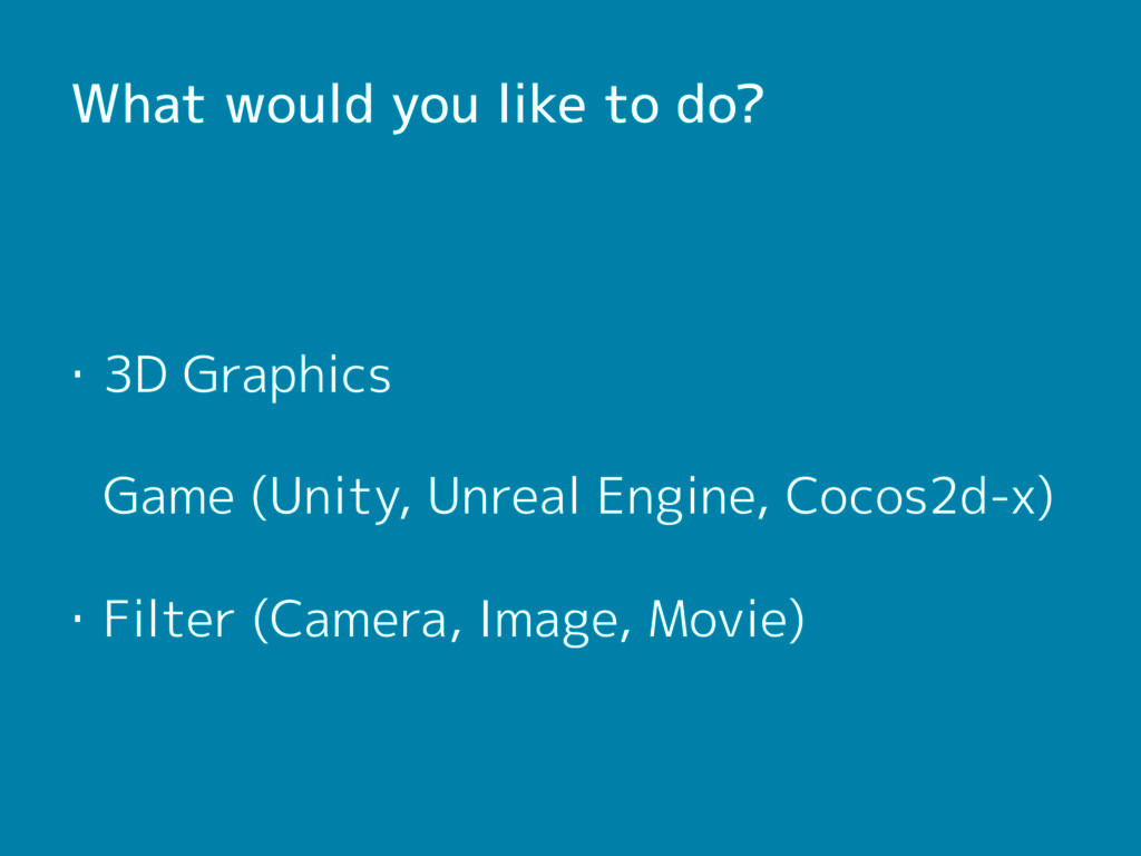 What would you like to do? ・3D Graphics  Game (...