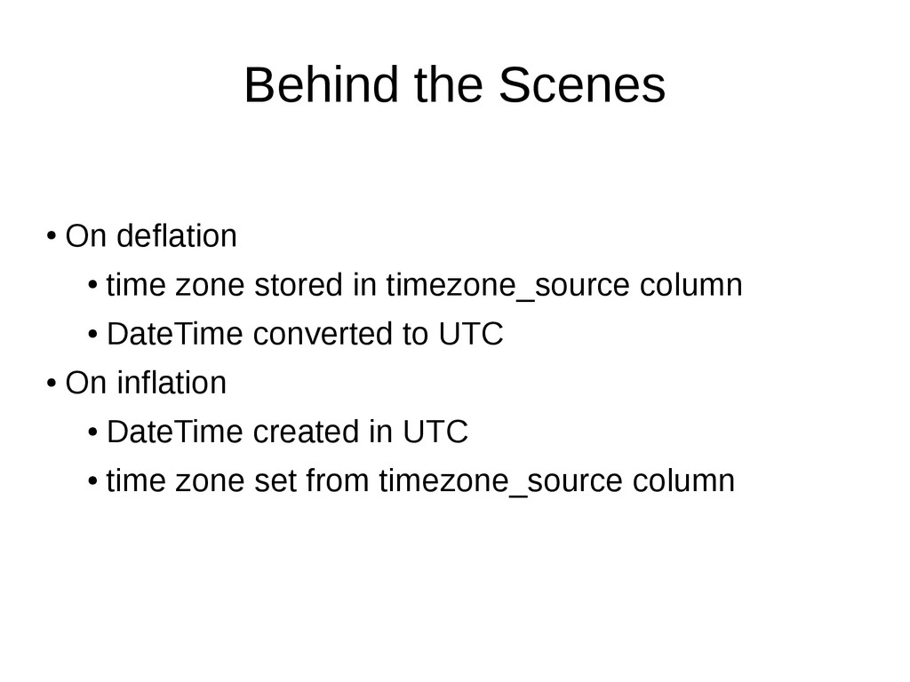 Behind the Scenes ● On deflation ● time zone st...