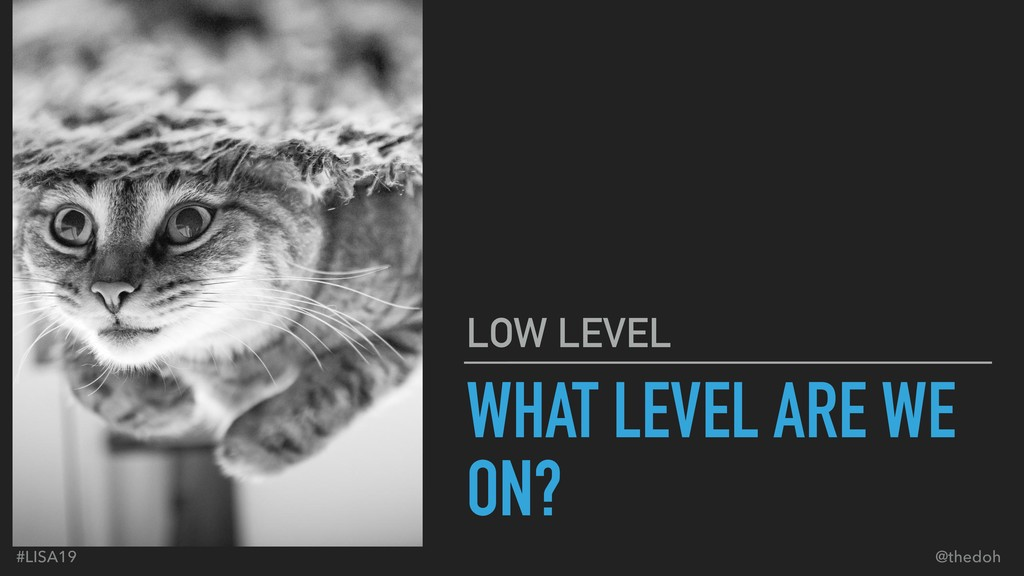 #LISA19 @thedoh WHAT LEVEL ARE WE ON? LOW LEVEL