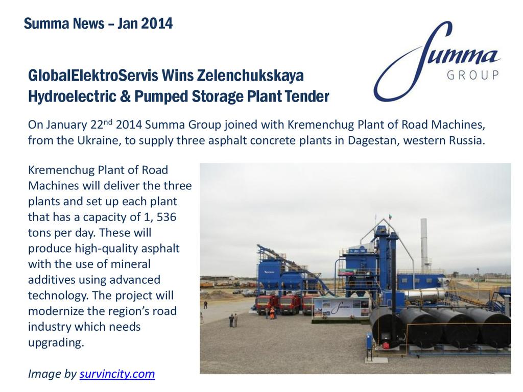 GlobalElektroServis Wins Zelenchukskaya Hydroel...
