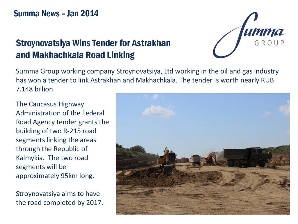 Stroynovatsiya Wins Tender for Astrakhan and Ma...