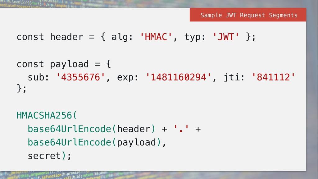 const header = { alg: 'HMAC', typ: 'JWT' }; con...