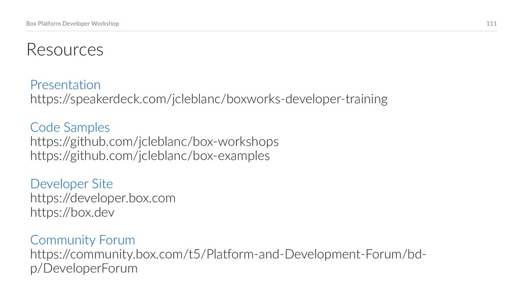 111 Box Platform Developer Workshop Presentatio...