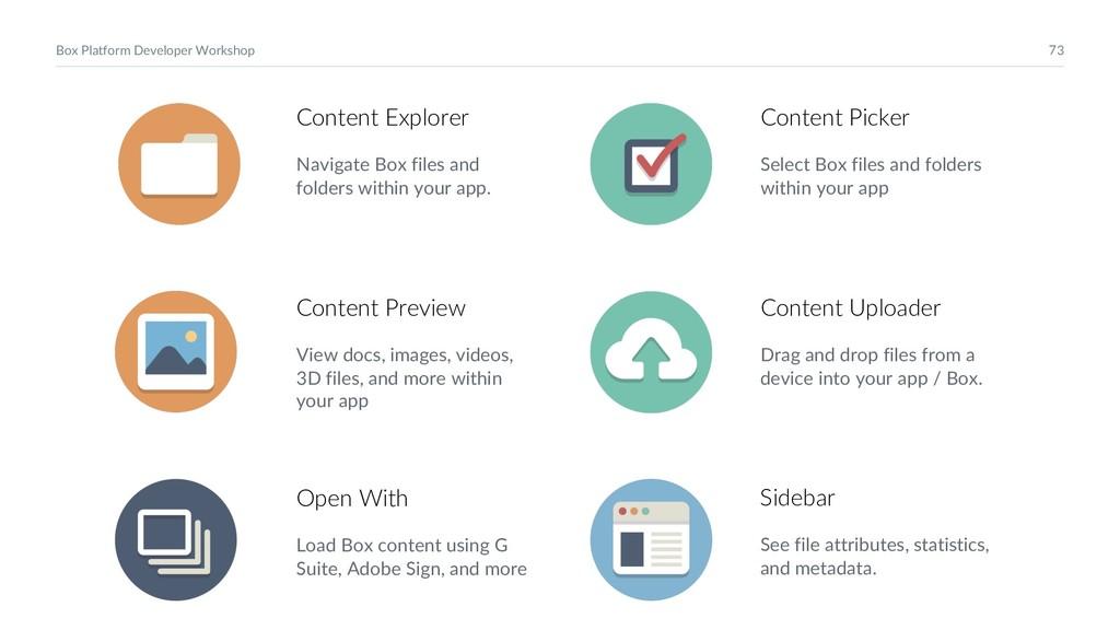 73 Box Platform Developer Workshop Content Expl...