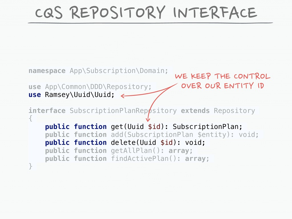 CQS REPOSITORY INTERFACE namespace App\Subscrip...