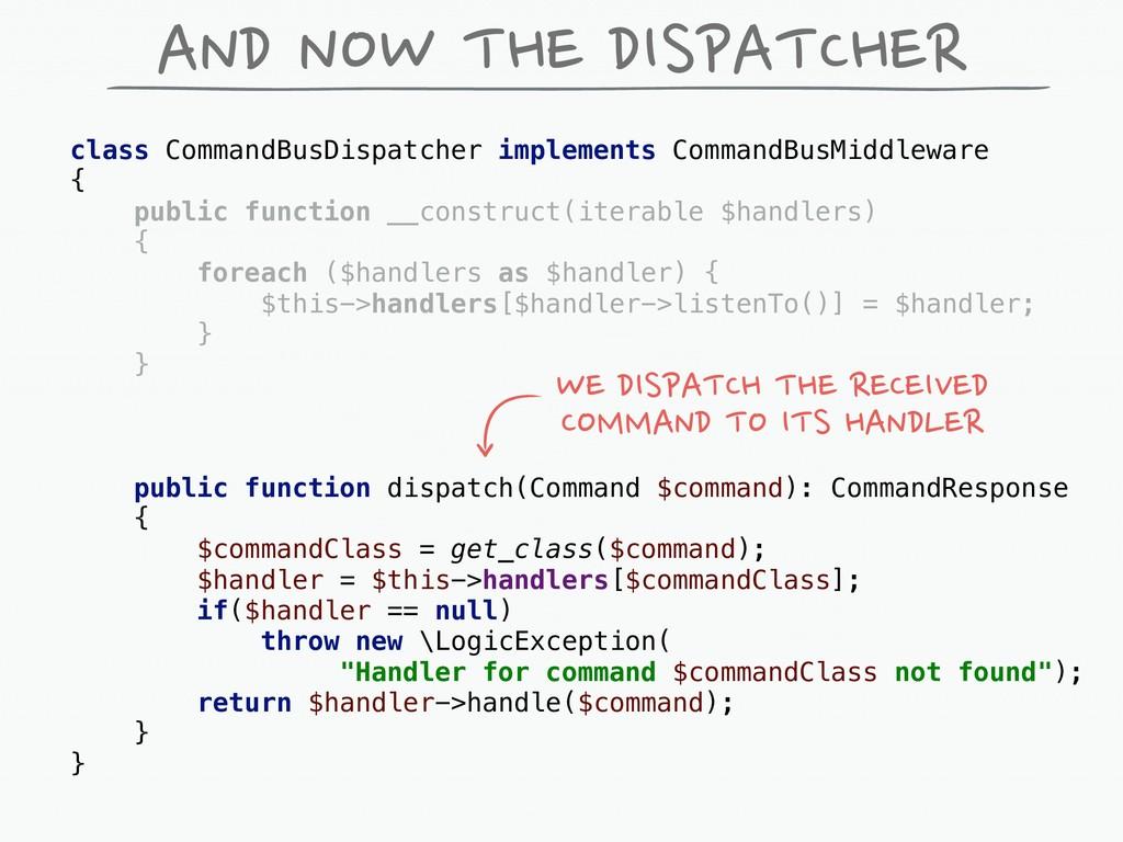 AND NOW THE DISPATCHER class CommandBusDispatch...