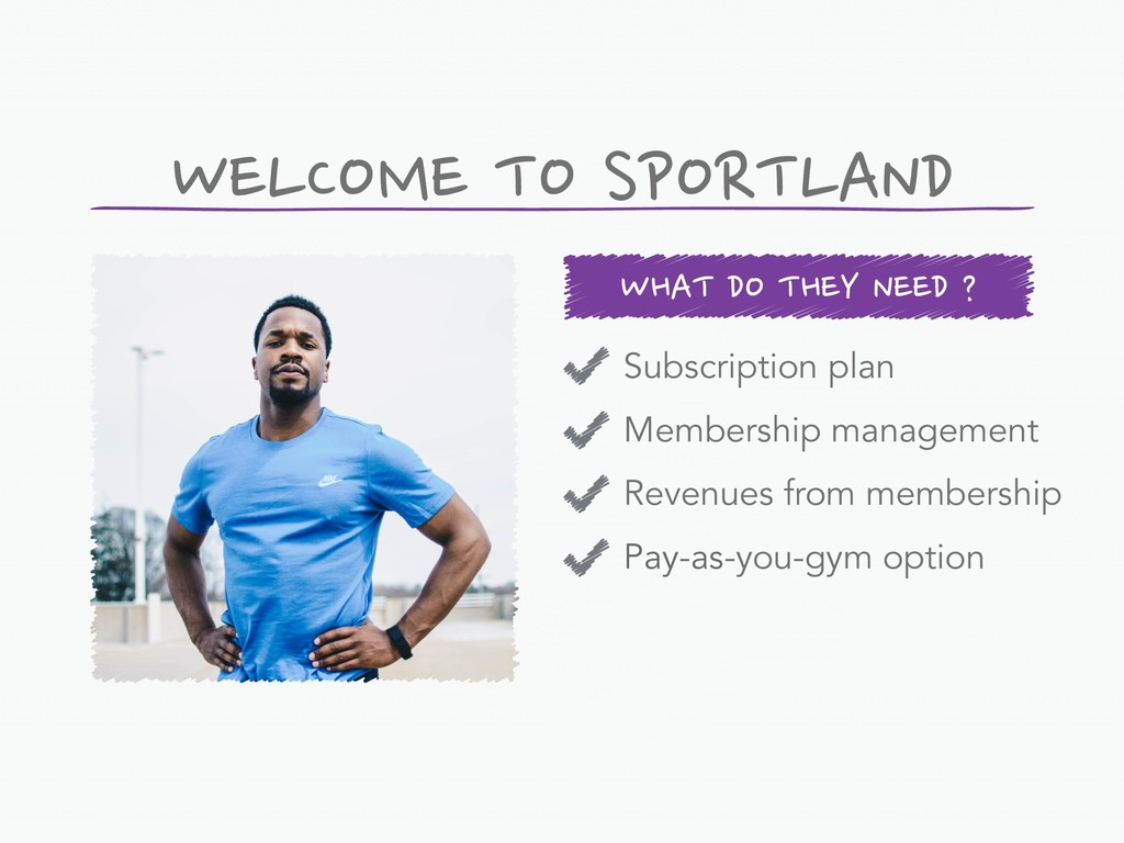 WHAT DO THEY NEED ? WELCOME TO SPORTLAND Subscr...