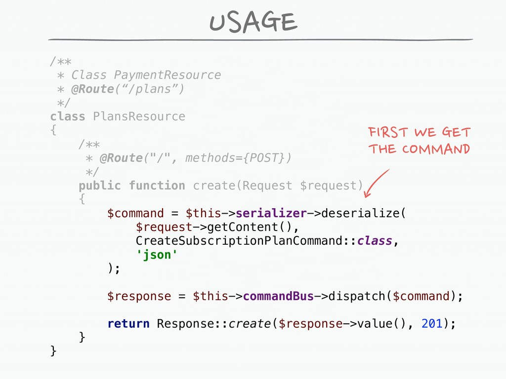 """USAGE /** * Class PaymentResource * @Route(""""/pl..."""
