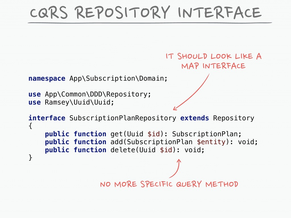 CQRS REPOSITORY INTERFACE namespace App\Subscri...