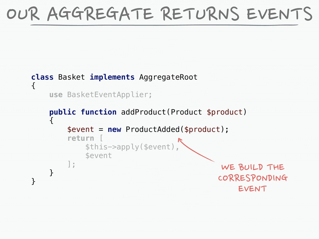 OUR AGGREGATE RETURNS EVENTS class Basket imple...