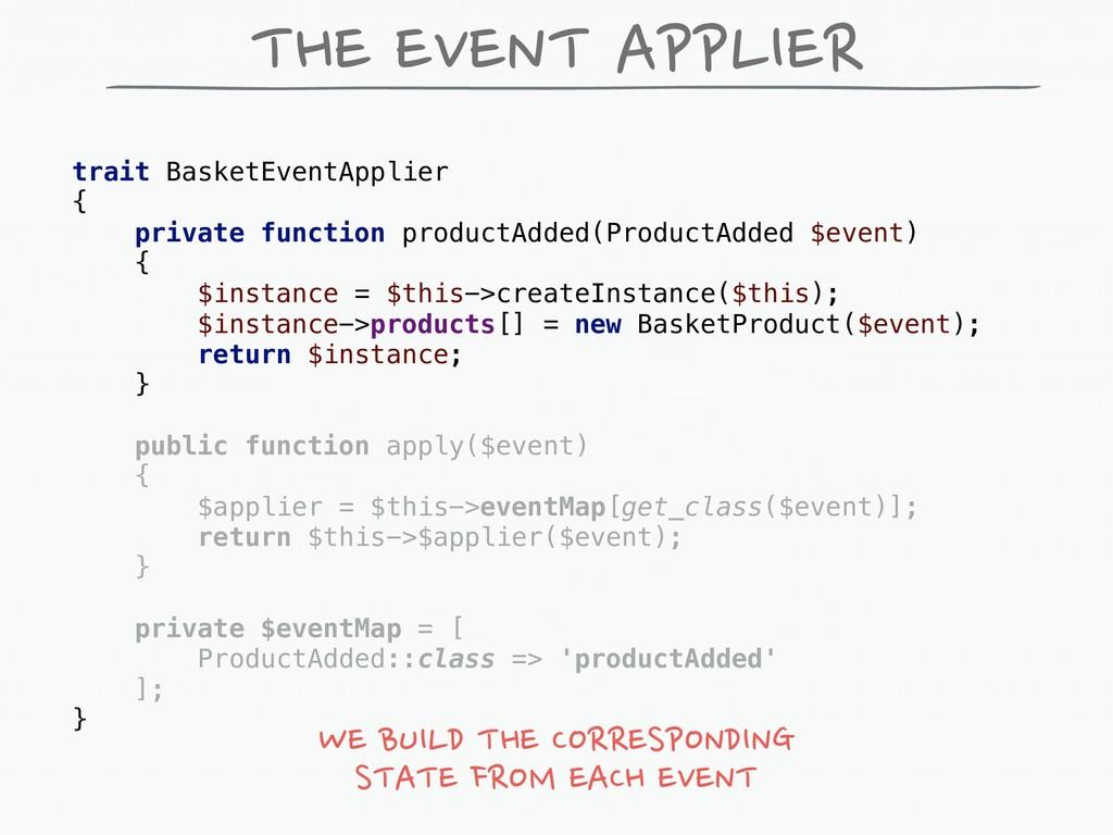 trait BasketEventApplier { private function pro...