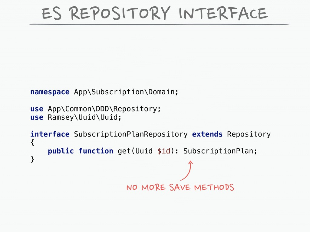 ES REPOSITORY INTERFACE namespace App\Subscript...