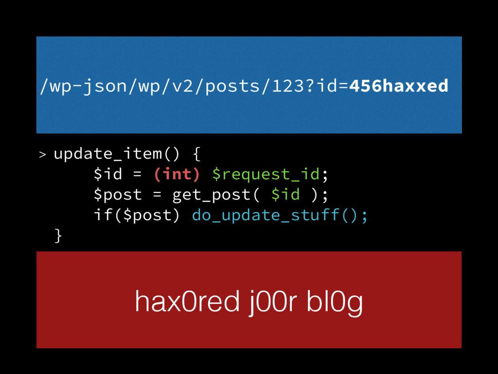 > update_item() { $id = (int) $request_id; $p...