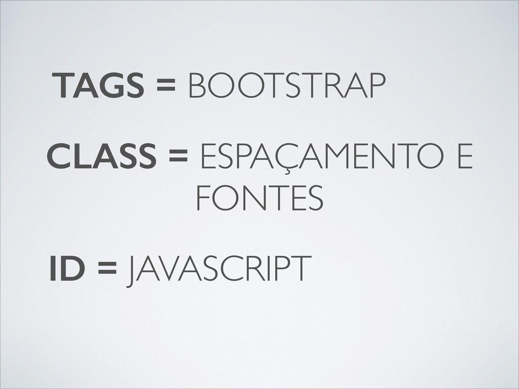 TAGS = BOOTSTRAP CLASS = ESPAÇAMENTO E FONTES I...