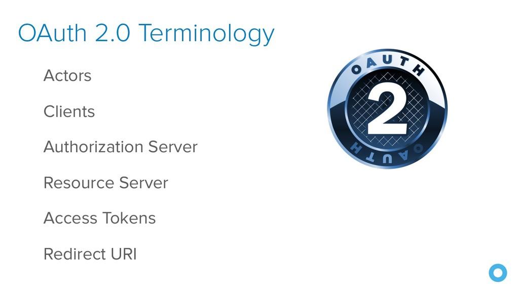 OAuth 2.0 Terminology Actors Clients Authorizat...