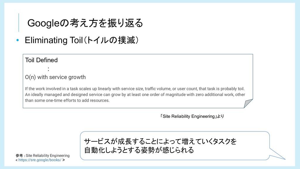 Googleの考え方を振り返る 参考 Site Reliability Engineering...