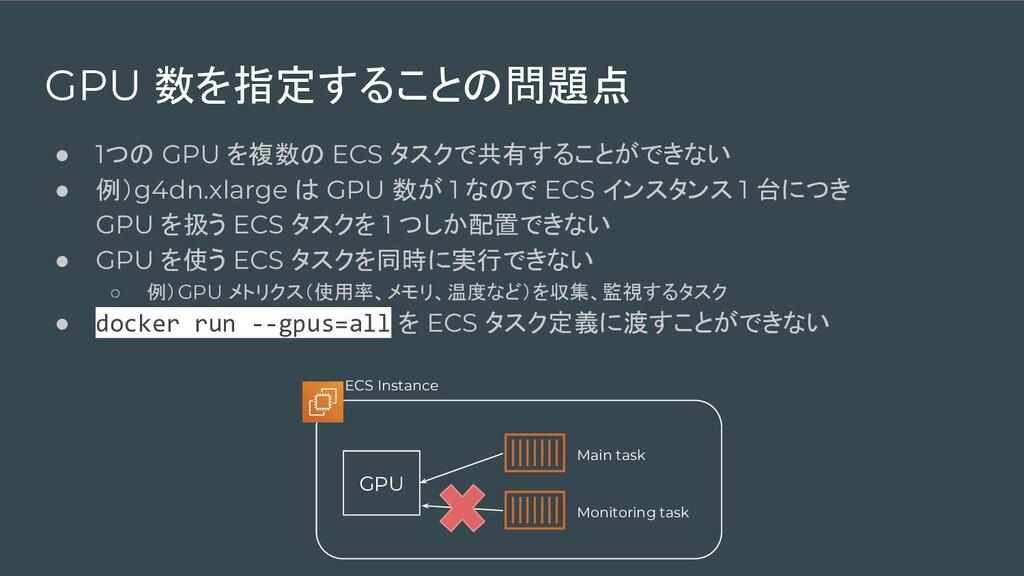 GPU 数を指定することの問題点 ● 1つの GPU を複数の ECS タスクで共有することが...