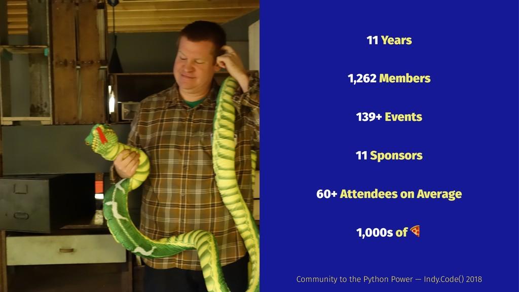 11 Years 1,262 Members 139+ Events 11 Sponsors ...