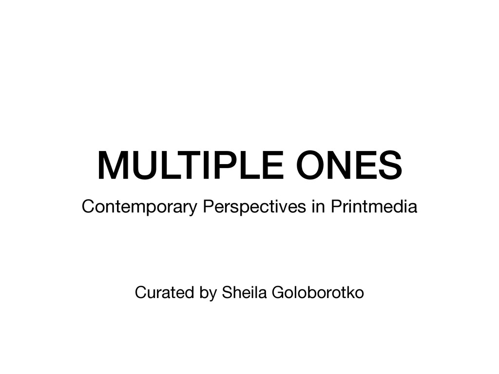 MULTIPLE ONES Contemporary Perspectives in Prin...
