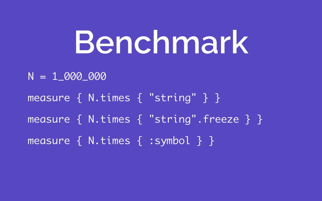 """N = 1_000_000 measure { N.times { """"string"""" } } ..."""