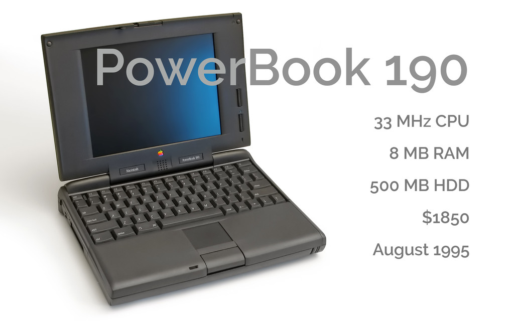PowerBook 190 33 MHz CPU 8 MB RAM 500 MB HDD $1...