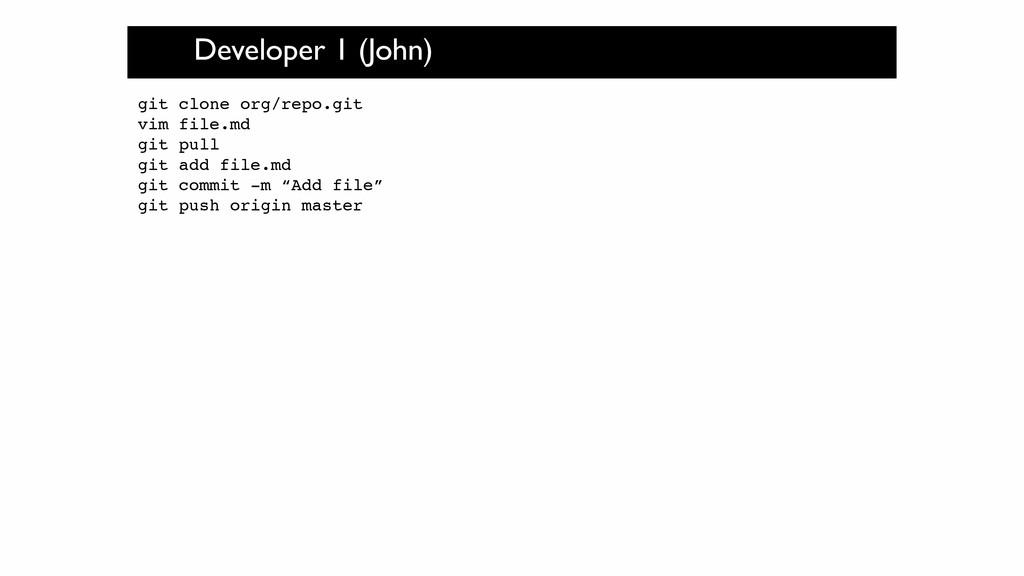 Developer 1 (John) git clone org/repo.git! vim ...