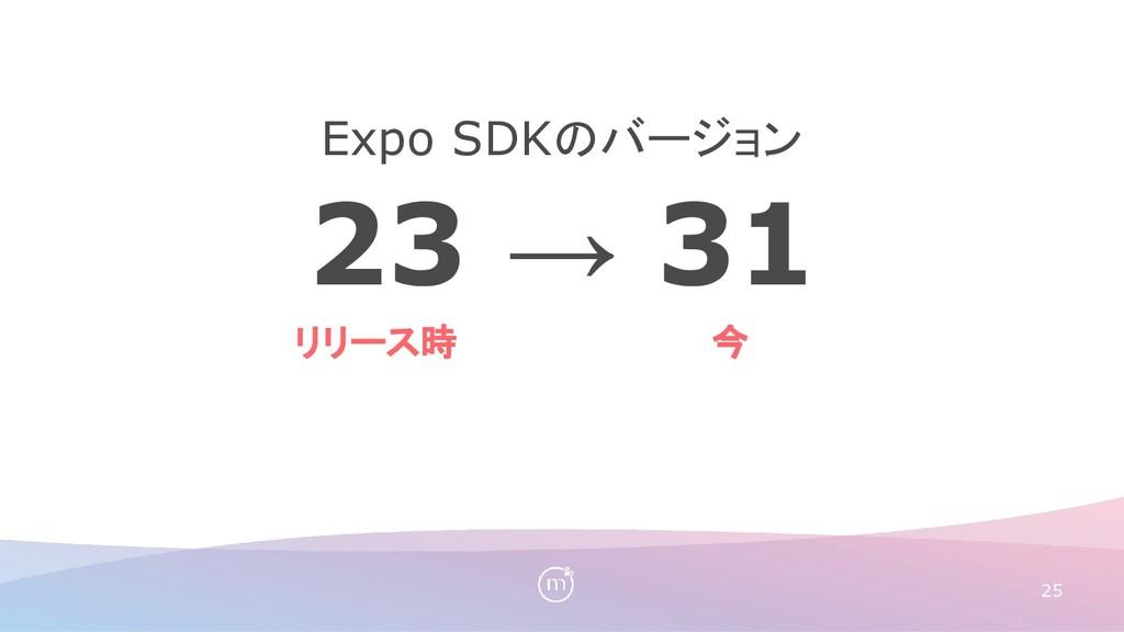 23 → 31 Expo SDKのバージョン 25 リリース時 今