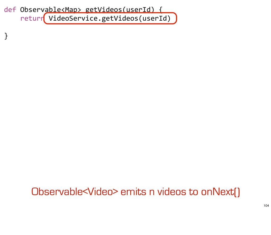 def Observable<Map> getVideos(userId) ...