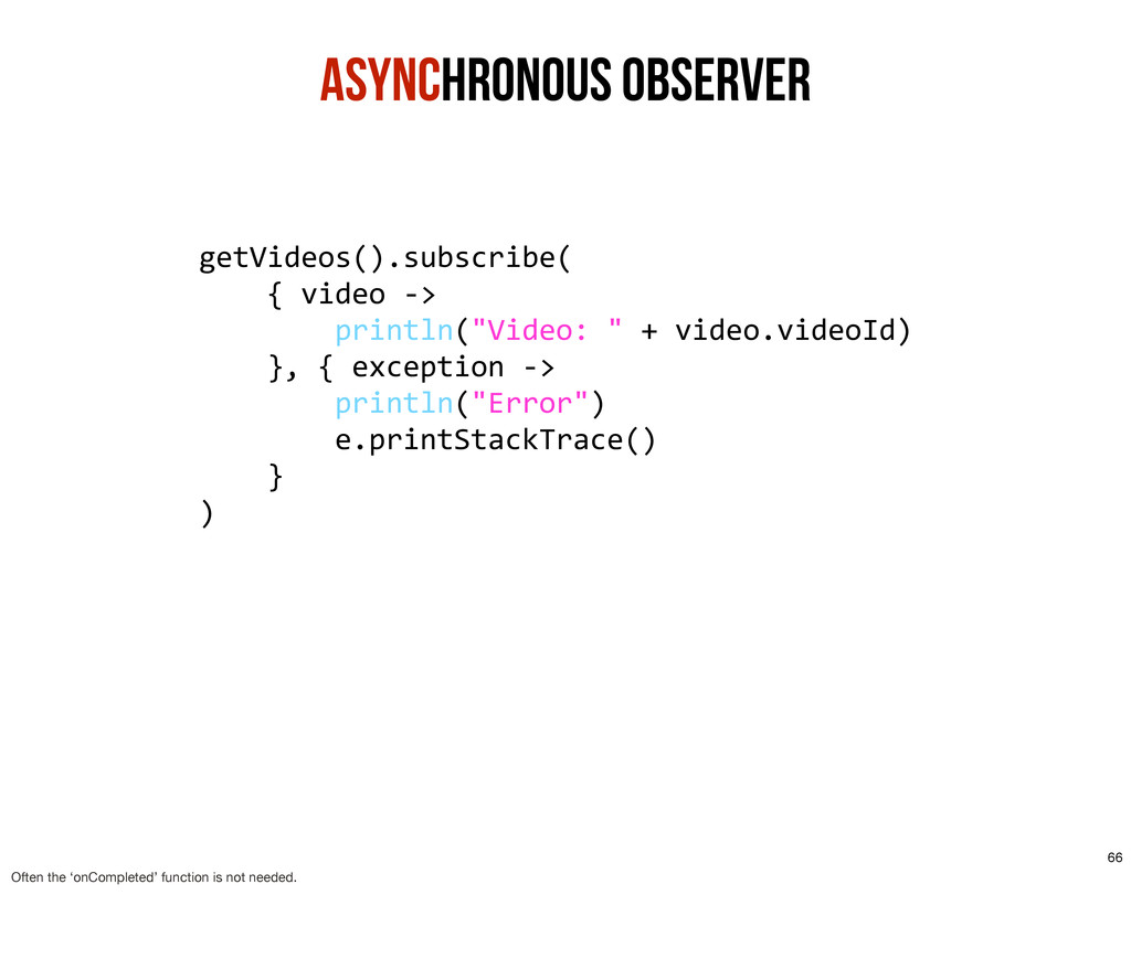 Asynchronous ObservER getVideos().subscribe( ...