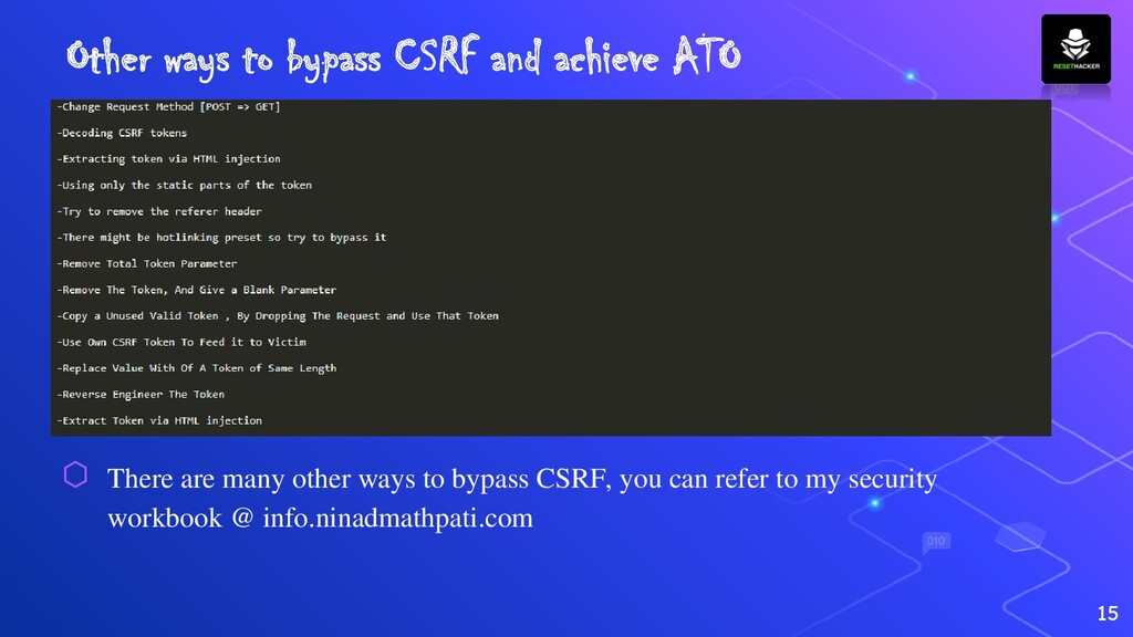 Other ways to bypass CSRF and achieve ATO 15 ⬡ ...