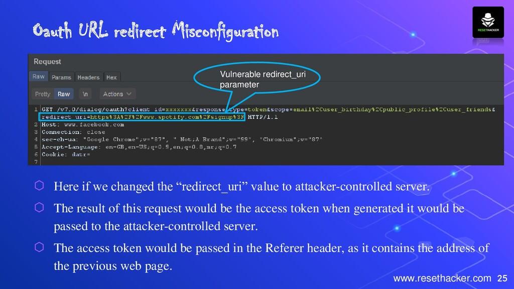 25 www.resethacker.com Oauth URL redirect Misco...