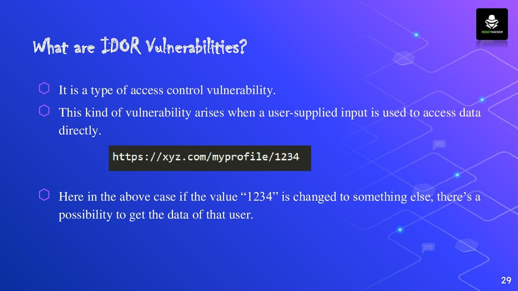 What are IDOR Vulnerabilities? ⬡ It is a type o...