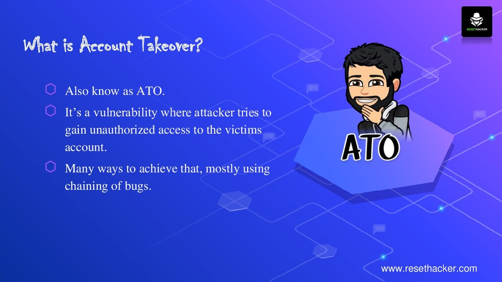 What is Account Takeover? ⬡ Also know as ATO. ⬡...
