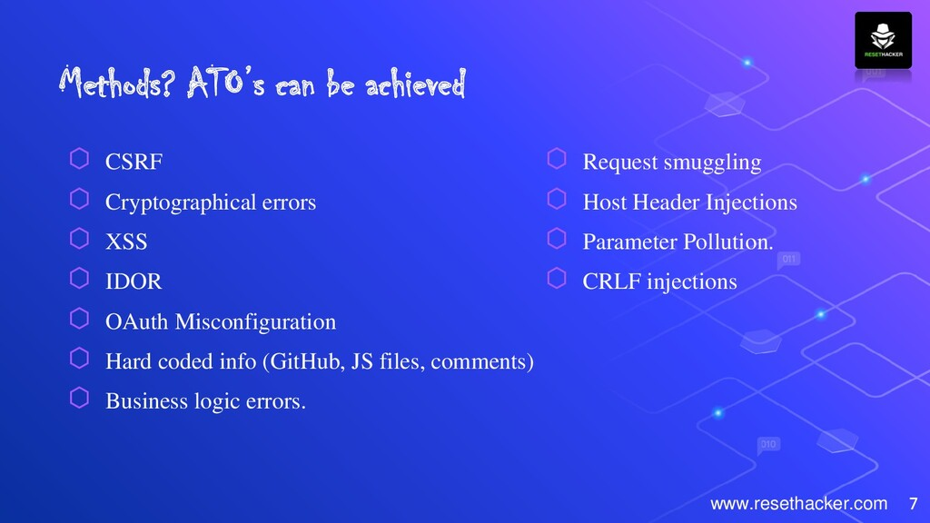 Methods? ATO's can be achieved ⬡ CSRF ⬡ Cryptog...