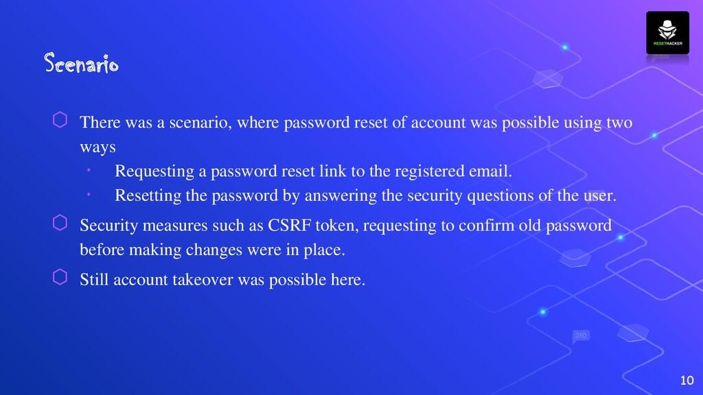 Scenario ⬡ There was a scenario, where password...