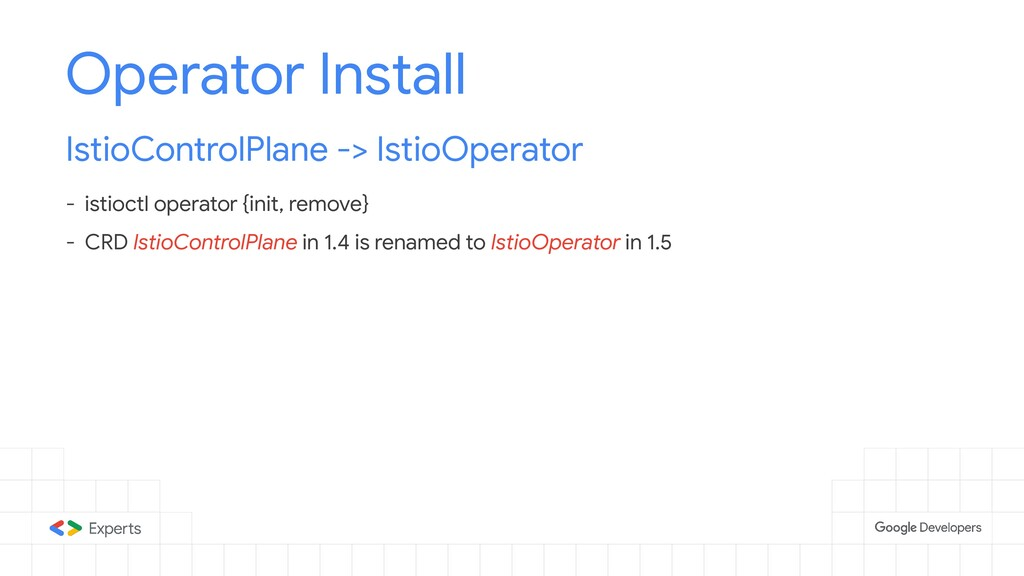Operator Install IstioControlPlane -> IstioOper...