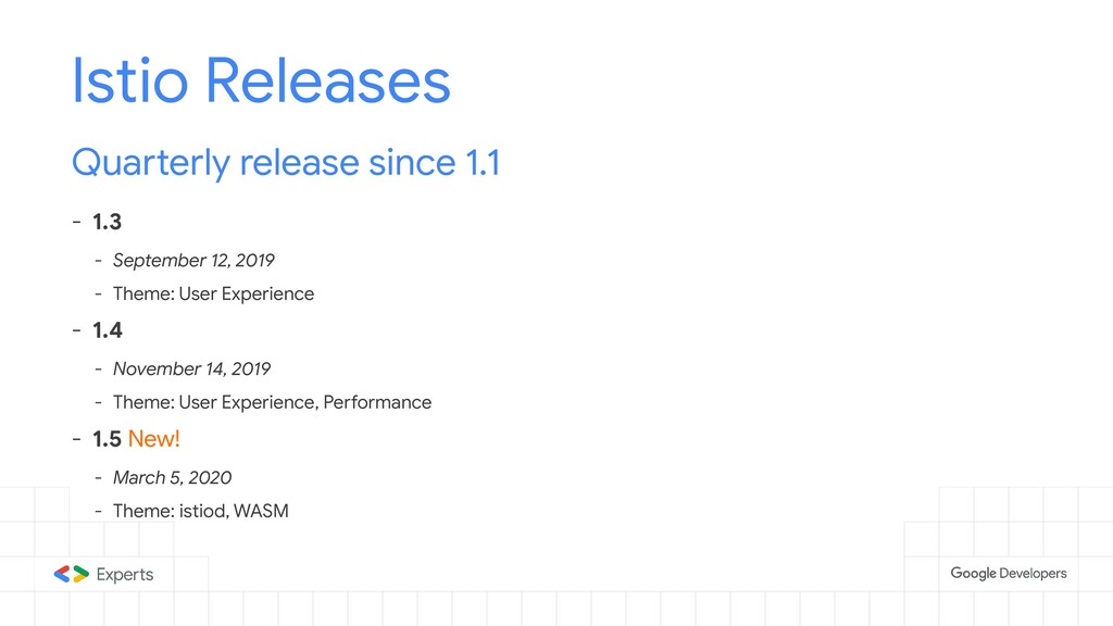 Istio Releases Quarterly release since 1.1 - 1....