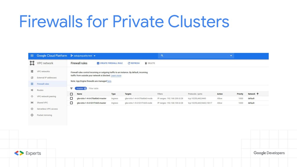 Firewalls for Private Clusters
