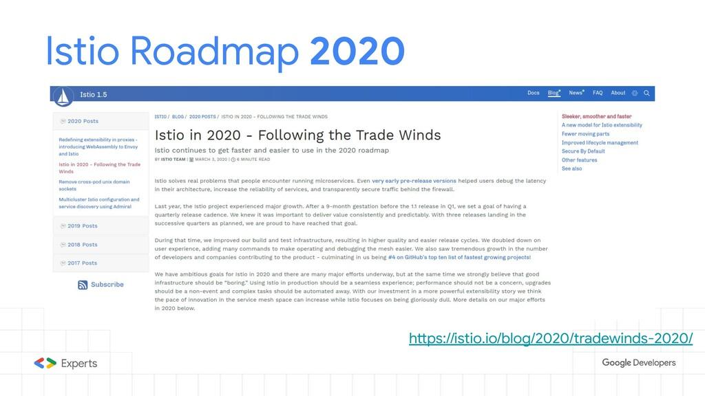Istio Roadmap 2020 https://istio.io/blog/2020/t...