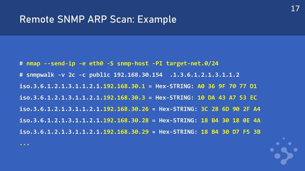 Remote SNMP ARP Scan: Example # nmap --send-ip ...