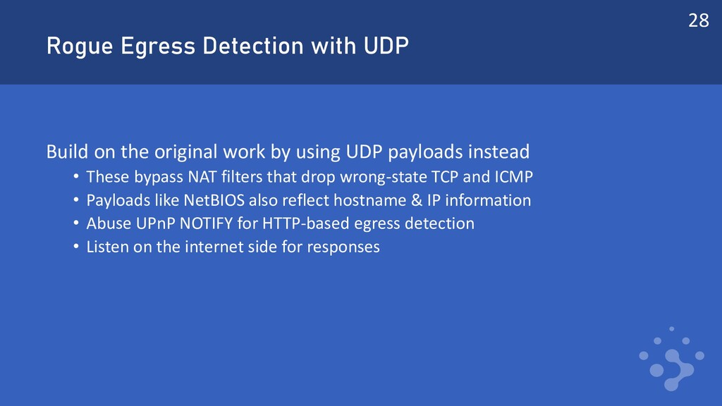 Rogue Egress Detection with UDP Build on the or...