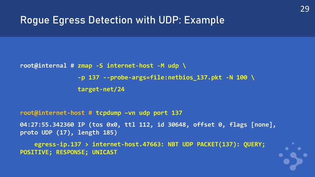 Rogue Egress Detection with UDP: Example root@i...