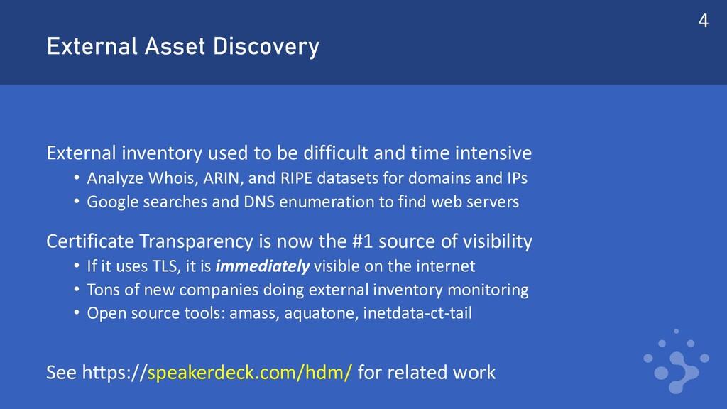 External Asset Discovery External inventory use...