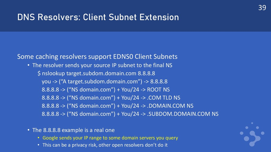 DNS Resolvers: Client Subnet Extension Some cac...