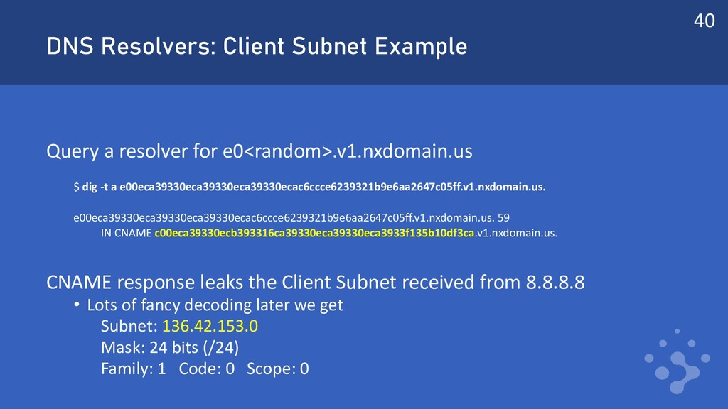 DNS Resolvers: Client Subnet Example Query a re...