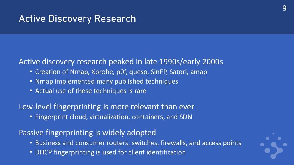 Active Discovery Research Active discovery rese...