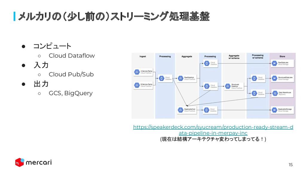 15 ● コンピュート ○ Cloud Dataflow ● 入力 ○ Cloud Pub/Su...