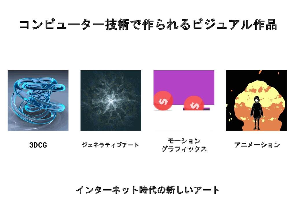 コンピューター技術で作られるビジュアル作品 3DCG アニメーション ジェネラティブアート モ...